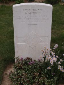 Grave of Private A Morris of the Royal Scots Queen's Edinburgh Rifles