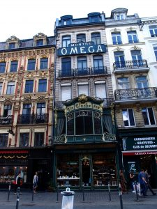 A la Cloche d'Or shop front, Omega sign, art nouveau building, Lille old town