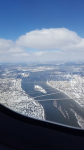 Harrisburg from the air with snow