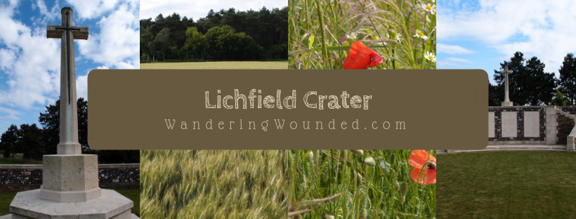 Lichfield Crater Cemetery is a Commonwealth War Graves Commission cemetery. As such, even though it is small, the site is beautifully tended with a pristine lawn.